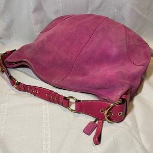 Vintage Coach SoHo Hobo Purse Pink Suede Large